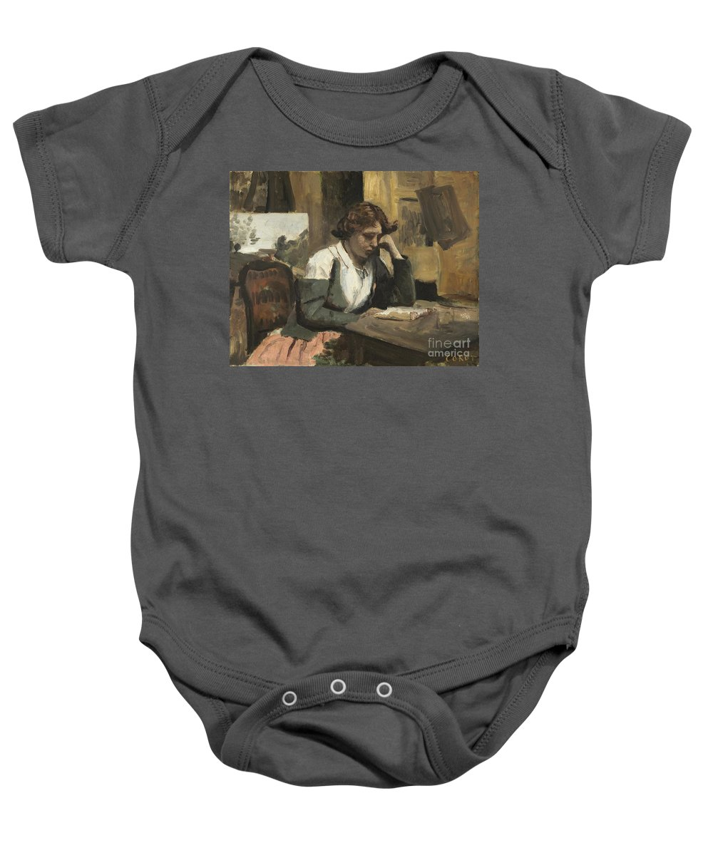Baby Onesie featuring the painting Young Girl Reading by Jean-baptiste-camille Corot