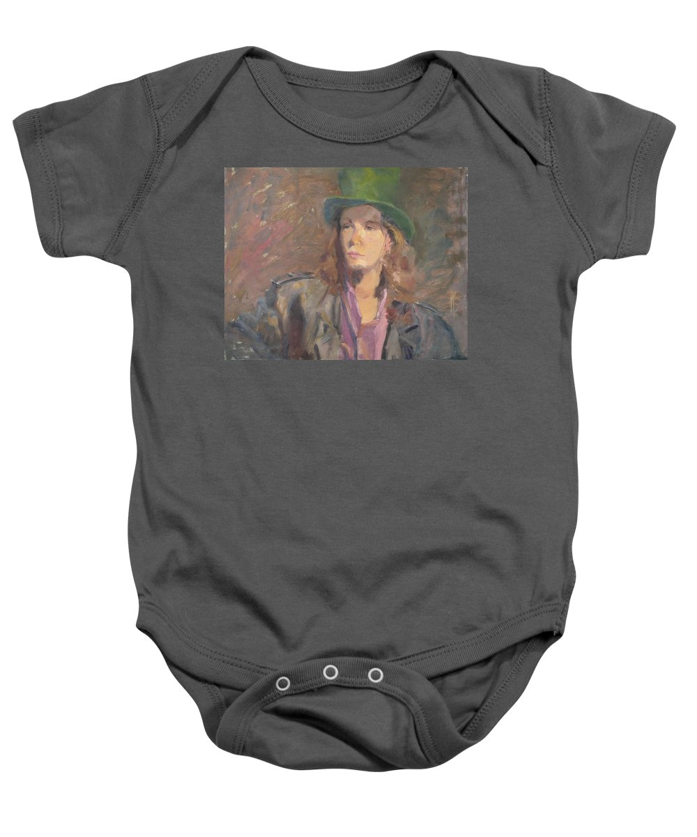 Young Man Irish Green Hat Portrait Figurative Long Hair Coat Baby Onesie featuring the painting Young Irish Man by Irena Jablonski