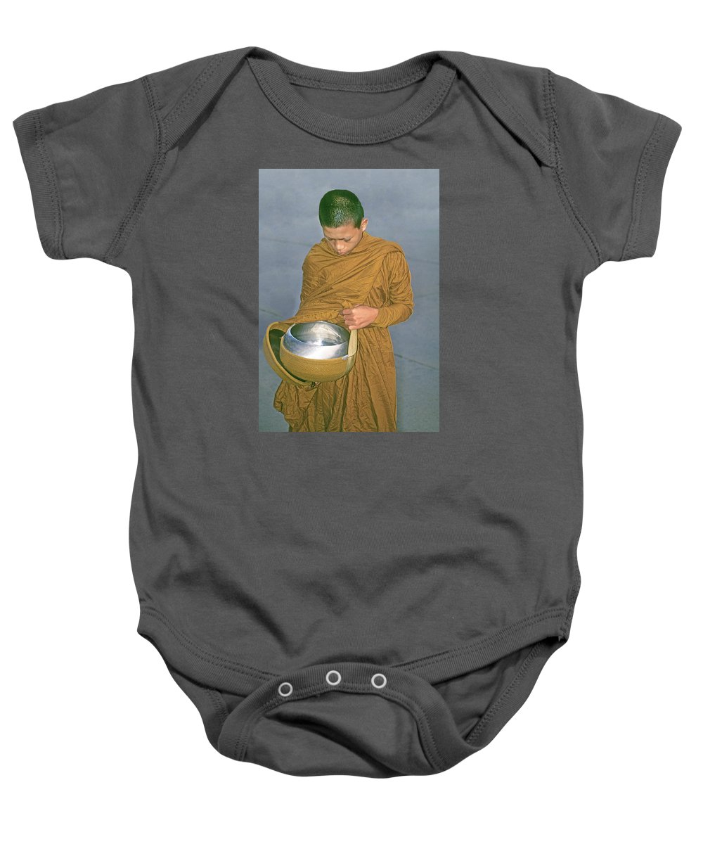 Buddhist Baby Onesie featuring the photograph Young Monk Begging Alms And Rice, Thailand by Buddy Mays