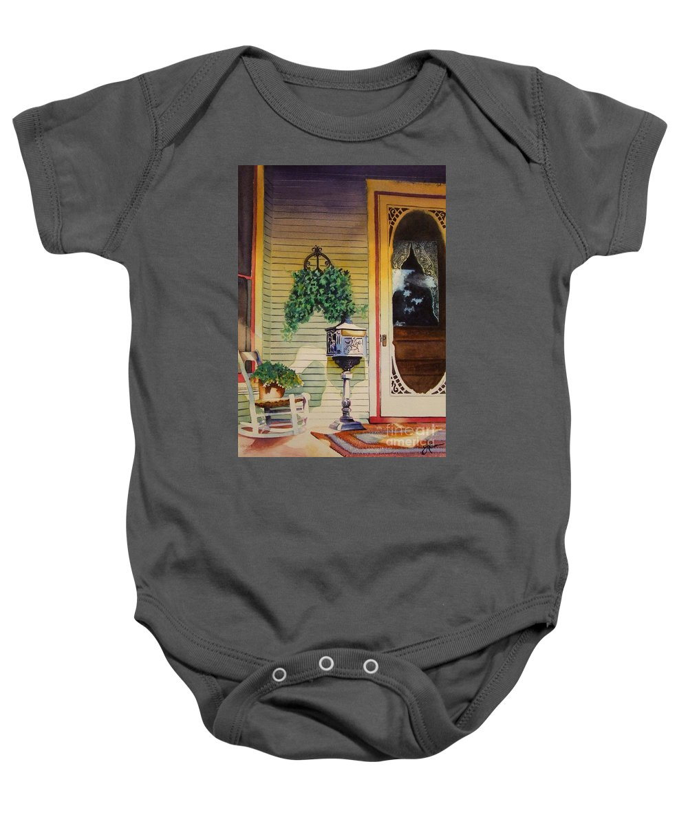 Antique Baby Onesie featuring the painting You've Got Mail by Greg and Linda Halom