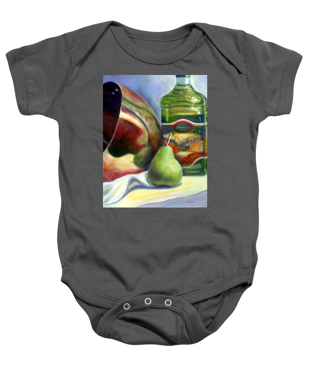 Copper Vessel Baby Onesie featuring the painting Zabaglione Pan by Shannon Grissom