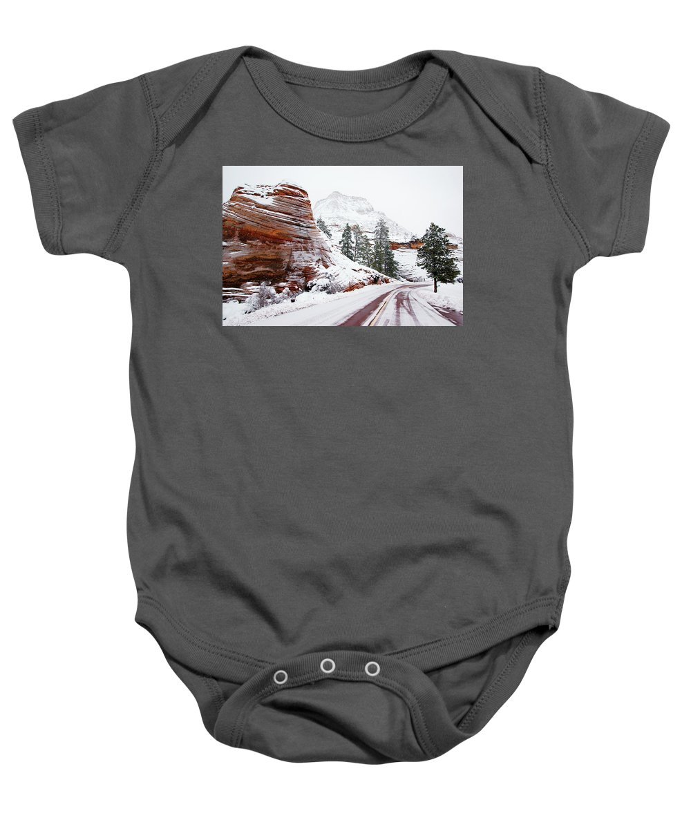 Zion Baby Onesie featuring the photograph Zion Road In Winter by Daniel Woodrum
