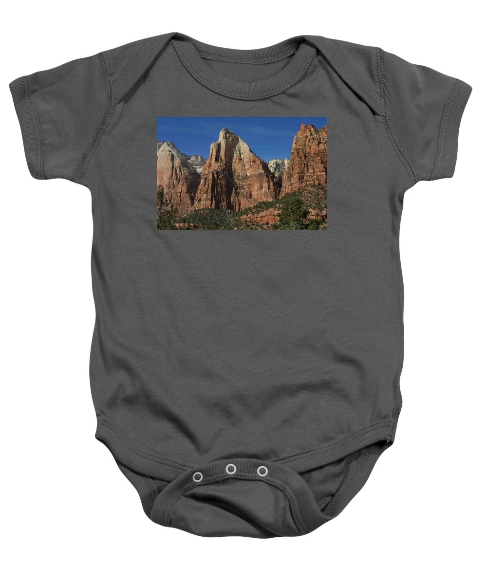 Zion Baby Onesie featuring the photograph Zion's Patriarchs by Nelson Strong