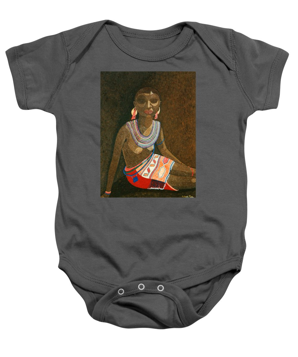 Zulu Woman Baby Onesie featuring the painting Zulu Woman With Beads by Madalena Lobao-Tello