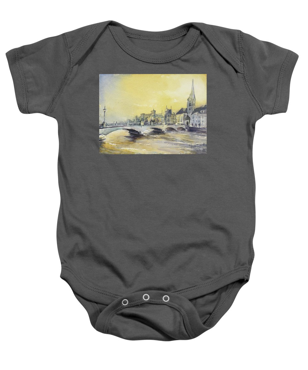 Building Baby Onesie featuring the painting Zurich Sunset- Switzerland by Ryan Fox