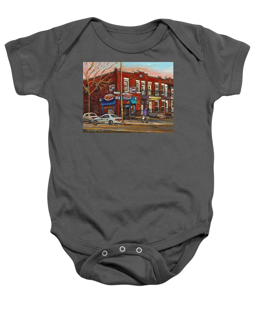Deli Baby Onesie featuring the painting Zytynsky's Deli Rosemont Montreal by Carole Spandau
