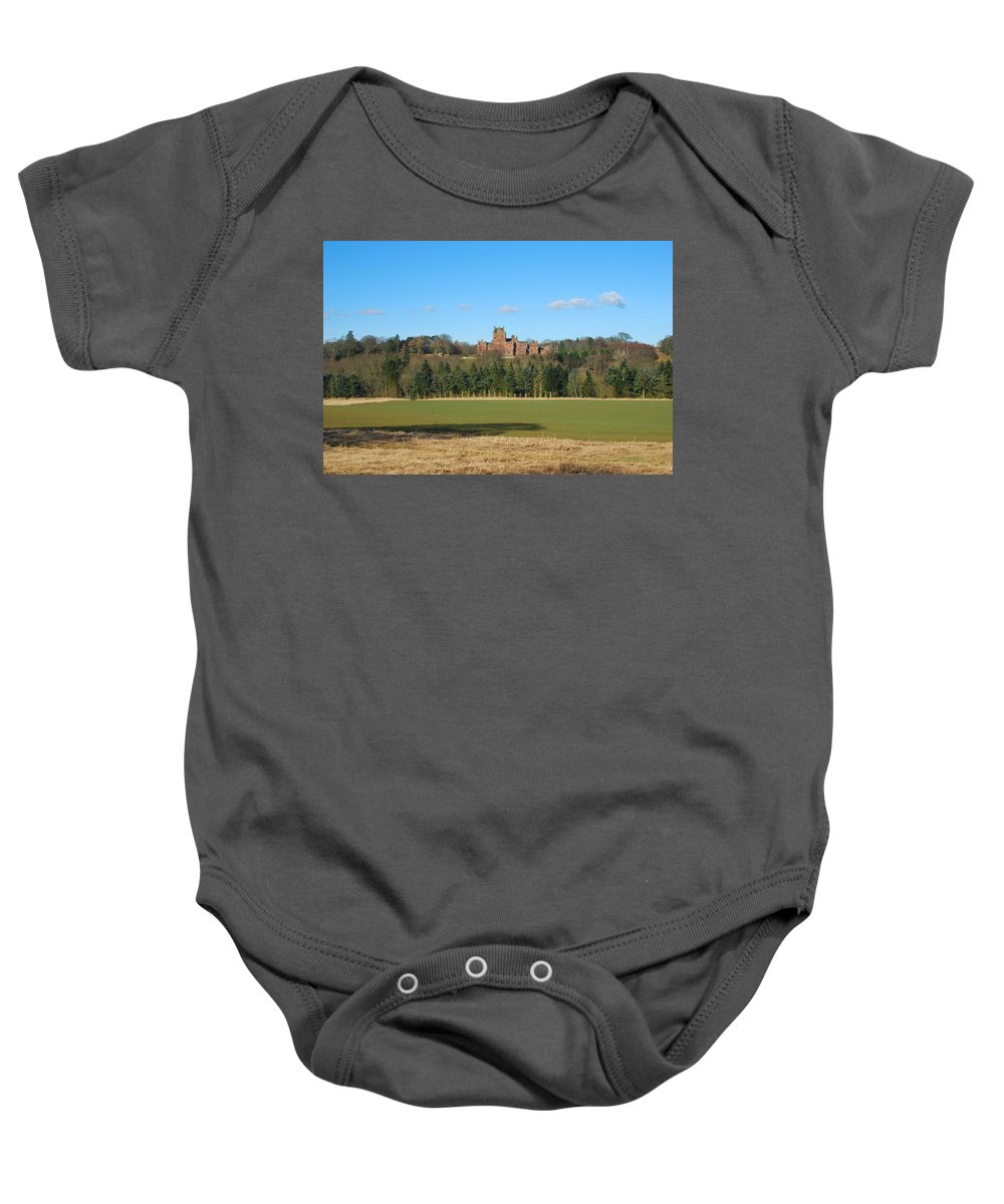 Ayton Baby Onesie featuring the photograph Ayton Castle From South, Berwickshire by Victor Lord Denovan