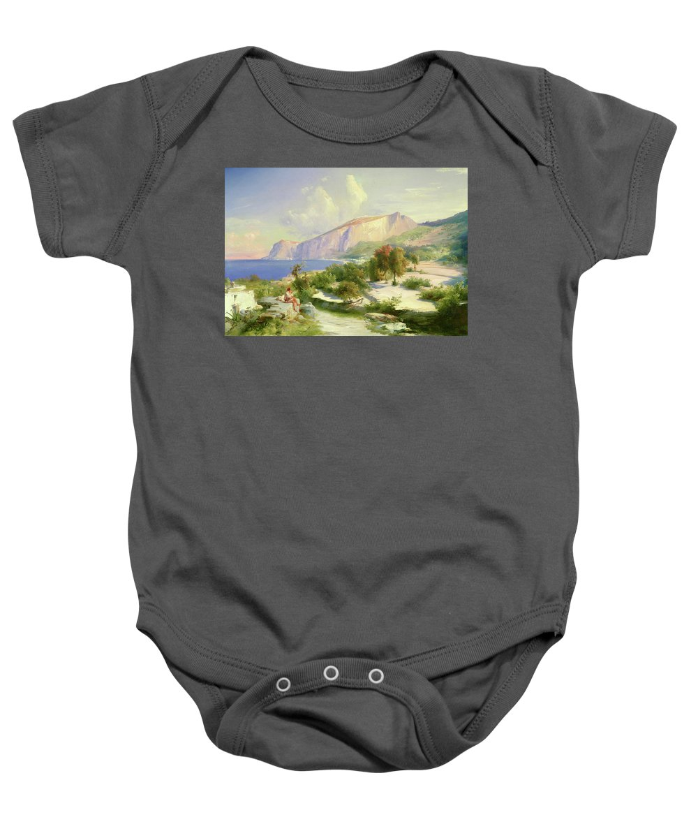 Karl Blechen Baby Onesie featuring the painting Capri by Karl Blechen