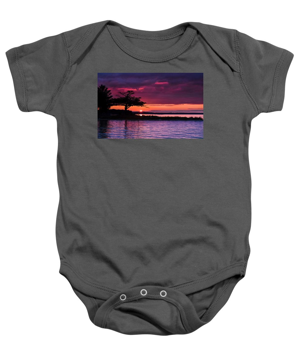 Higgins Lake Baby Onesie featuring the photograph Detroit Point September Sunset by Ron Wiltse