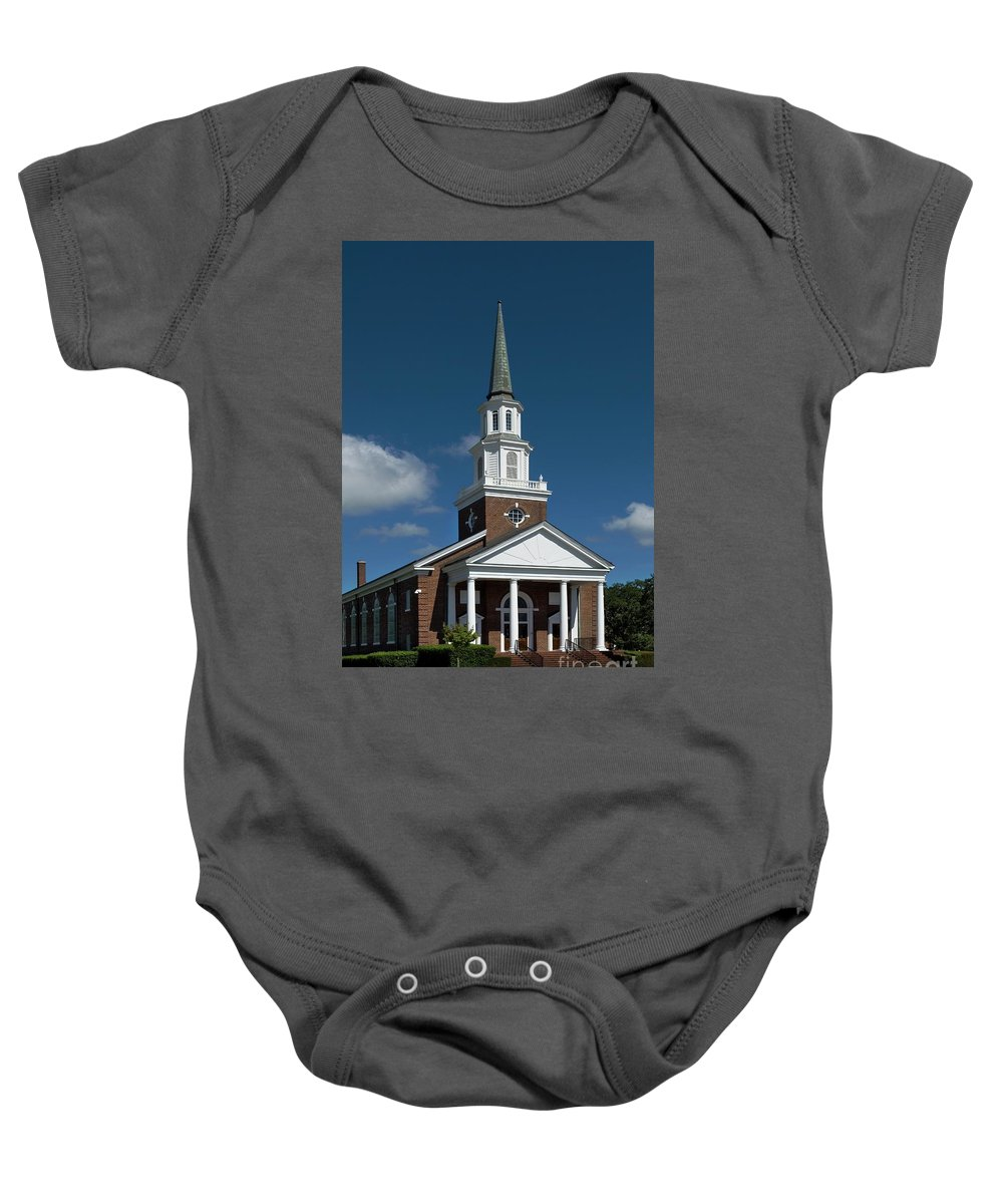First Baptist Church Baby Onesie featuring the photograph First Baptist Church Myrtle Beach S C by Bob Pardue