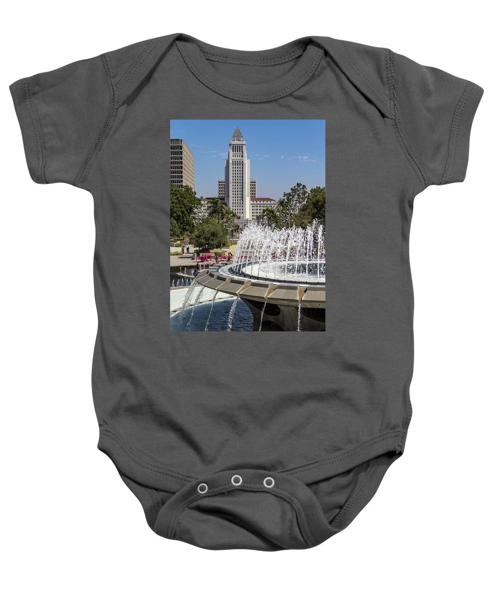 Arthur J. Will Baby Onesie featuring the photograph Los Angeles City Hall And Arthur J. Will Memorial Fountain by Roslyn Wilkins