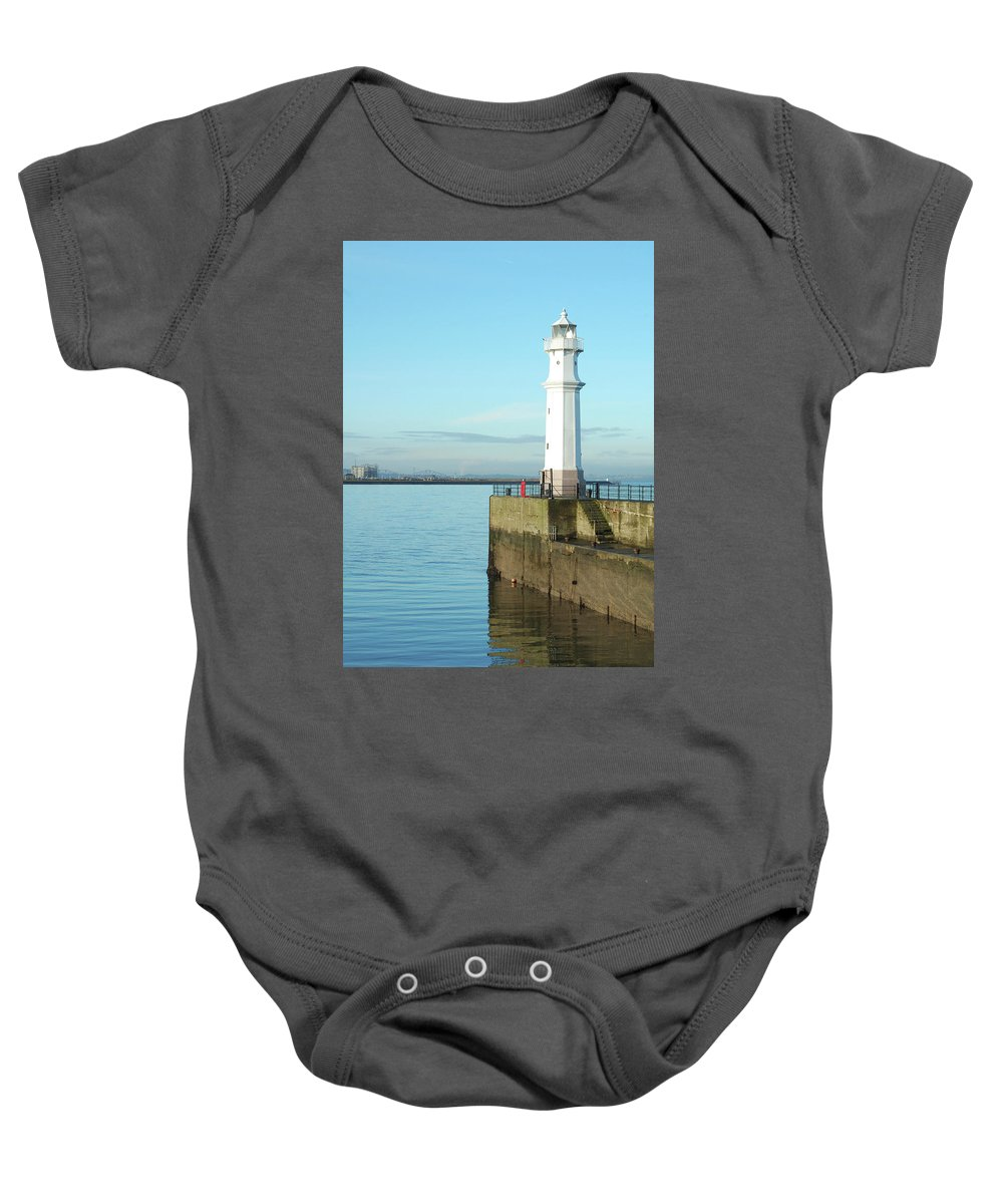 Coast Baby Onesie featuring the photograph Newhaven Harbour Edinburgh by Victor Lord Denovan