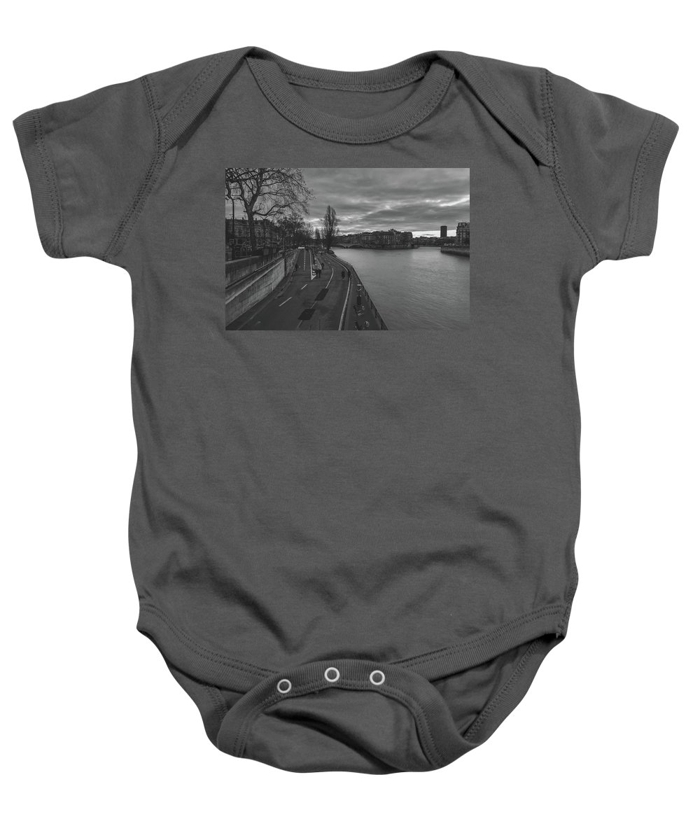 Seine Baby Onesie featuring the photograph Walking Along The Seine At Sunset by Pixabay