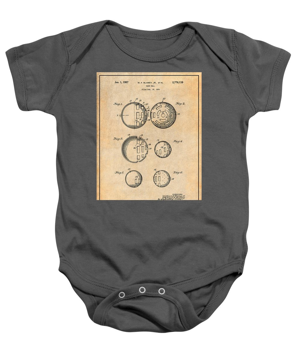 Art & Collectibles Baby Onesie featuring the drawing 1954 Wiffle Ball Patent Print Antique Paper by Greg Edwards