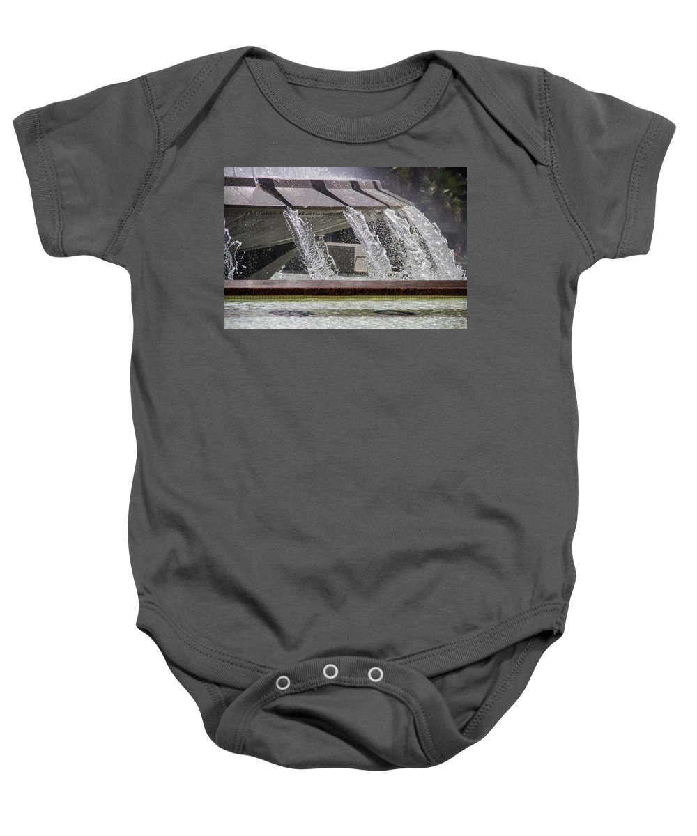 Arthur J. Will Baby Onesie featuring the photograph Arthur J. Will Memorial Fountain At Grand Park by Roslyn Wilkins