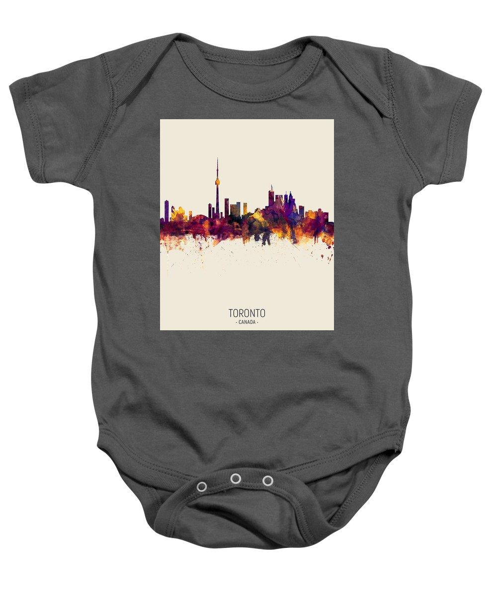 Toronto Baby Onesie featuring the digital art Toronto Canada Skyline 22 by Michael Tompsett