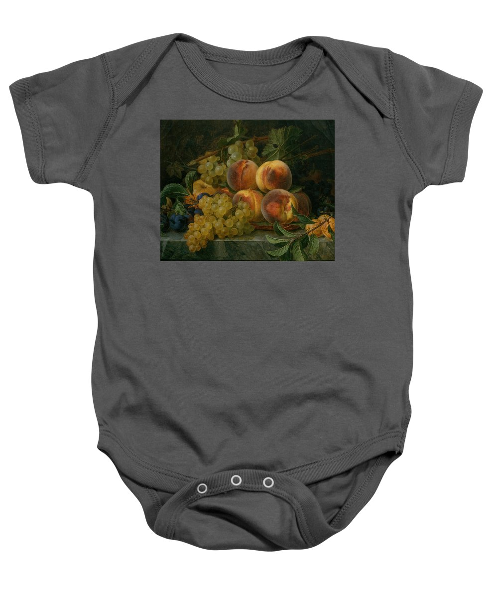 19th Century Art Baby Onesie featuring the painting Still Life by Francisco Lacoma y Fontanet