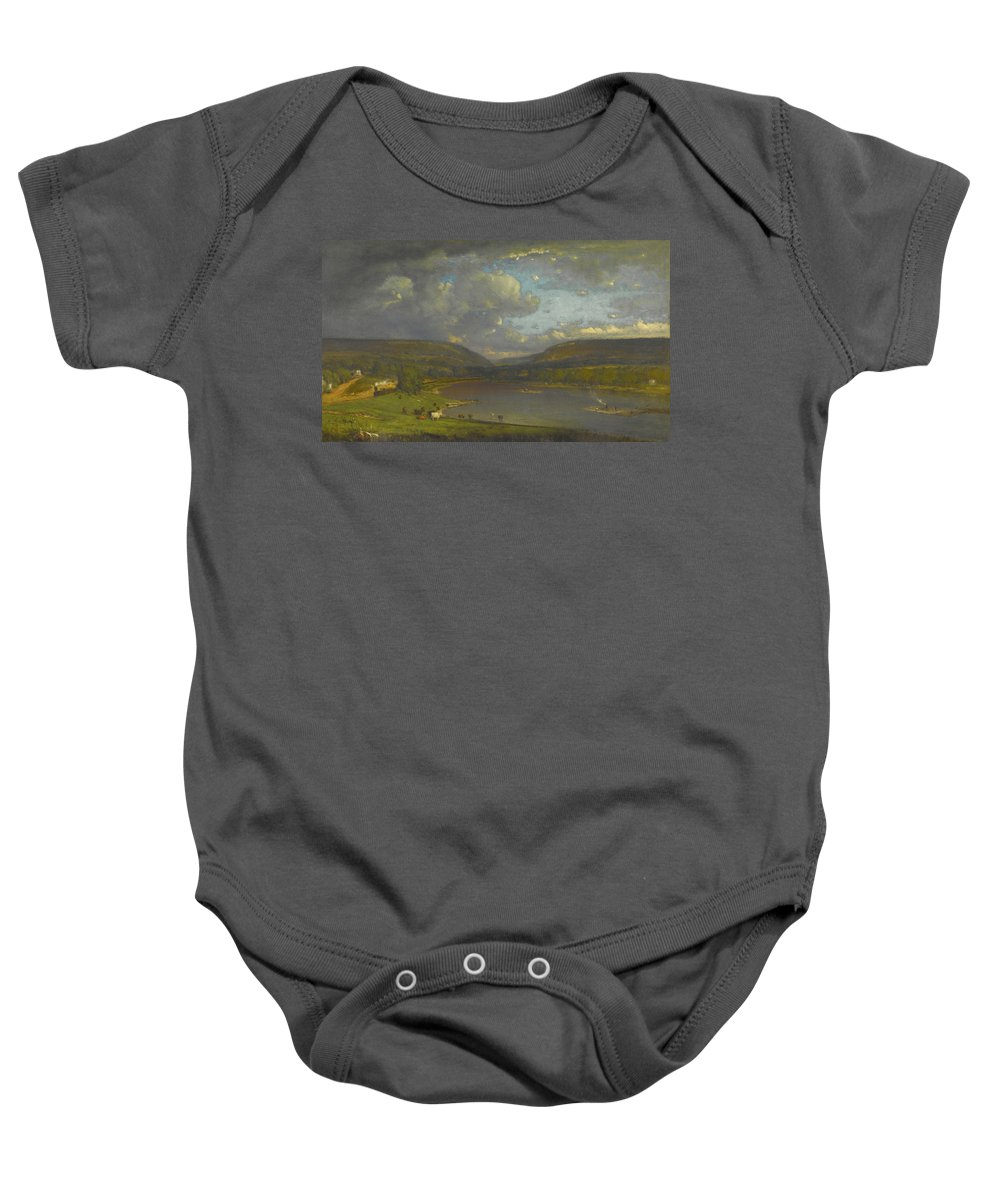 On The Delaware River Baby Onesie featuring the painting On The Delaware River by George Inness