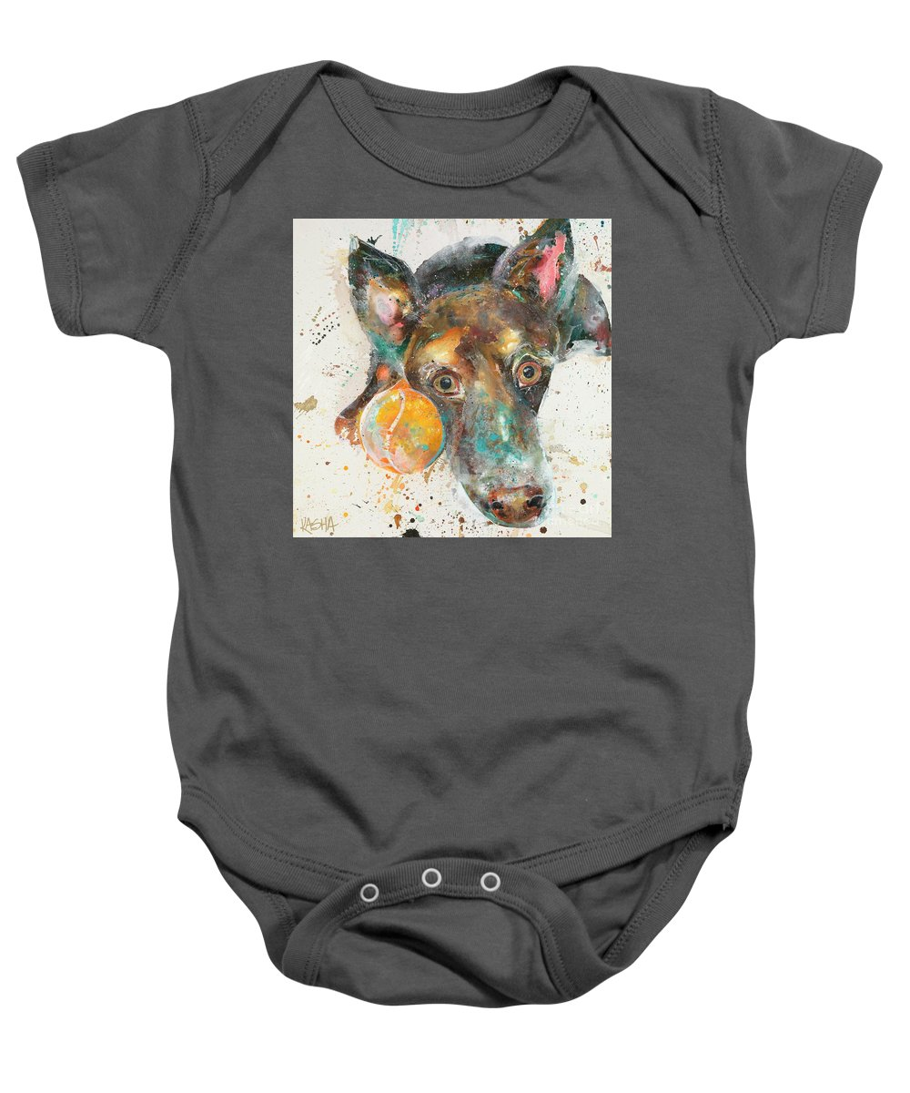 Dog Baby Onesie featuring the painting 40 Love by Kasha Ritter