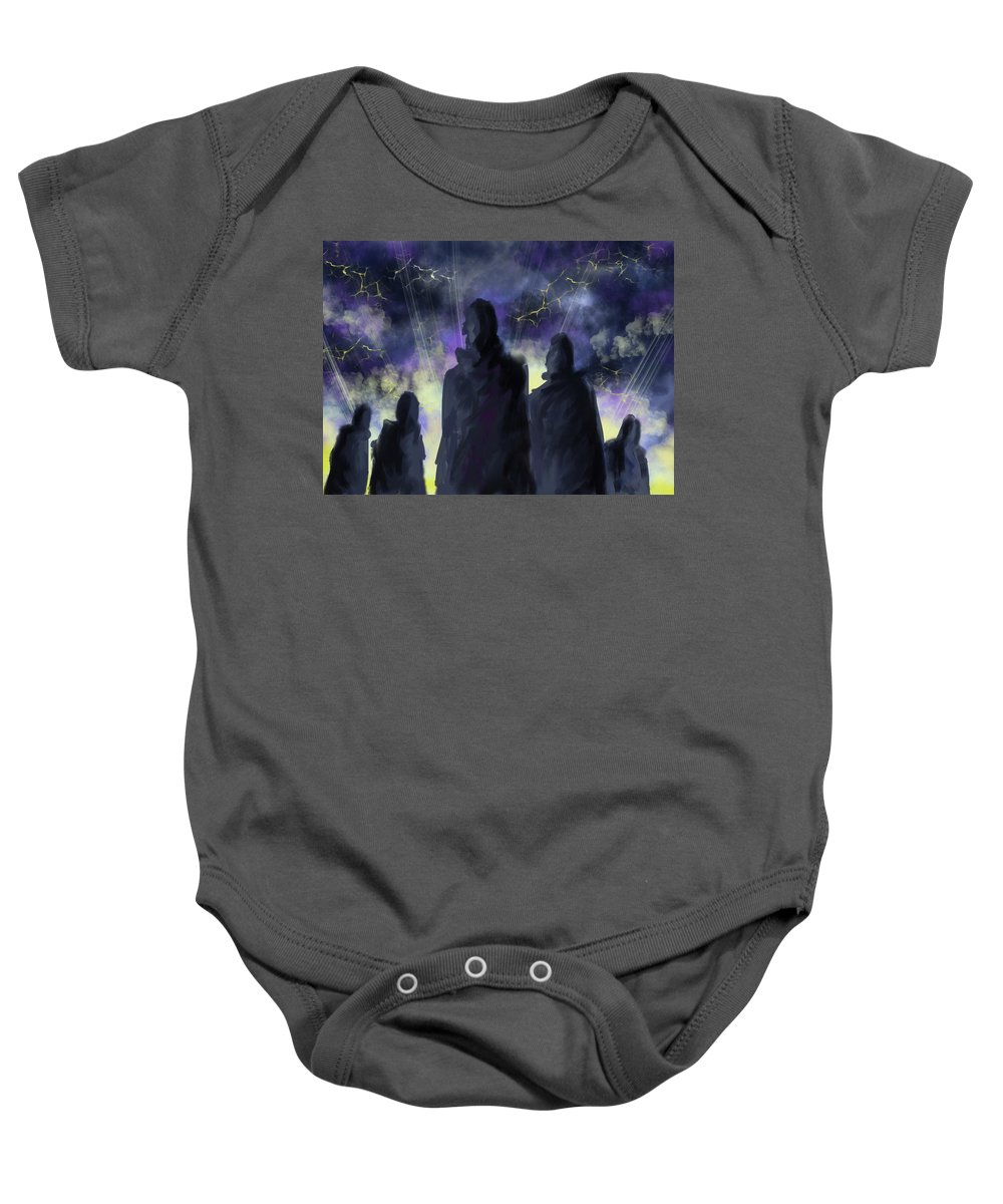 People Baby Onesie featuring the digital art 5 People by Alessandra Parmeggiani