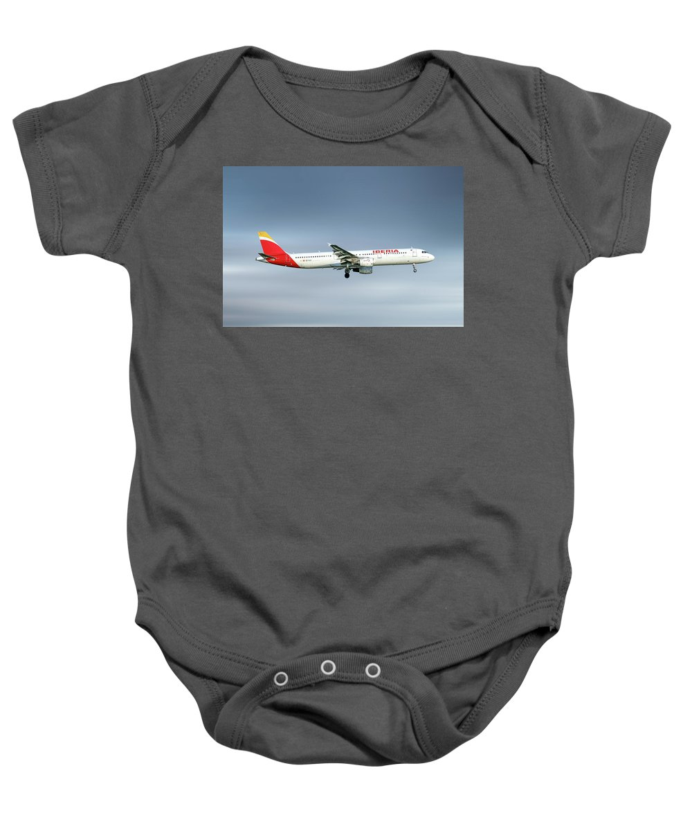 Iberia Baby Onesie featuring the mixed media Iberia Airbus A321-212 by Smart Aviation