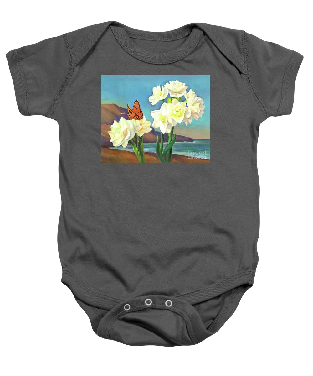 Paper White Baby Onesie featuring the painting A Morning Greeting From Narcissus Flowers by Svitozar Nenyuk