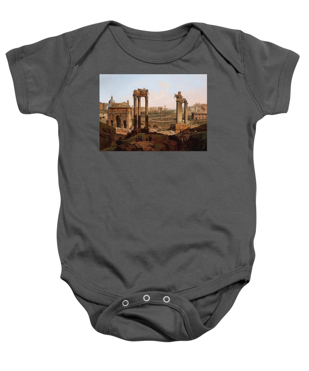 View Baby Onesie featuring the painting A View Of The Forum Romanum by Jean Victor Louis Faure