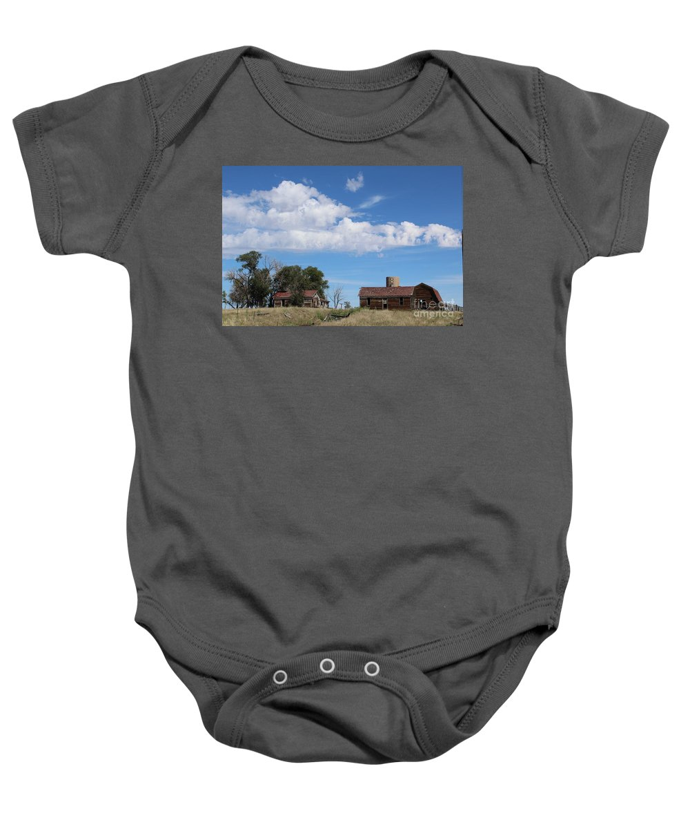 Abandoned Farm Baby Onesie featuring the photograph Abandoned Farm by Tammie J Jordan