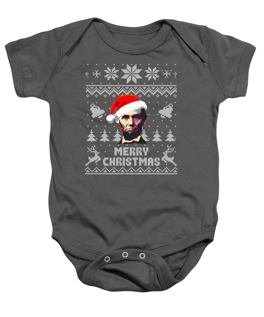 Christmas Baby Onesie featuring the digital art Abraham Lincoln Merry Christmas by Filip Schpindel