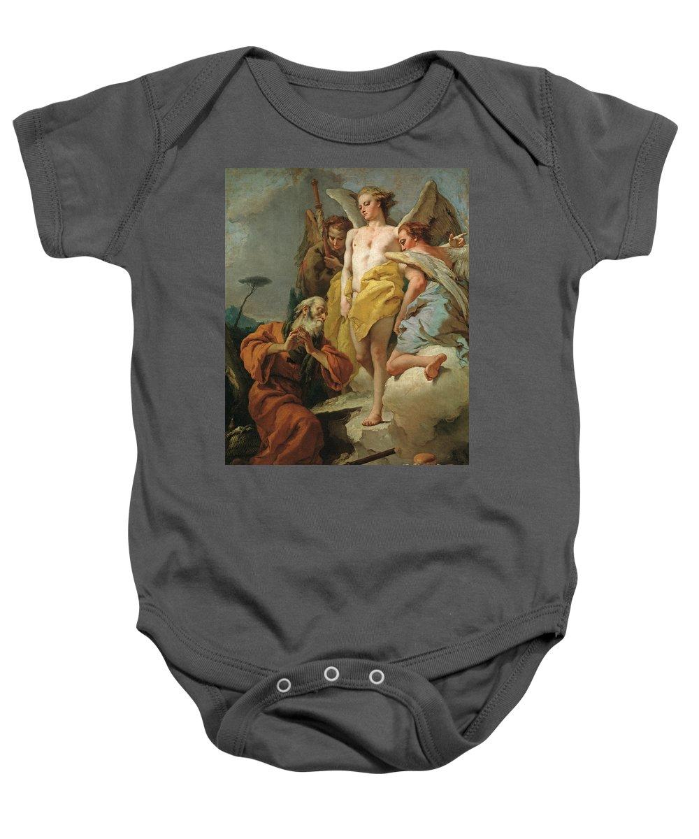 Tiepolo Giambattista Baby Onesie featuring the painting Abraham Y Los Tres Angeles X  Cm by Tiepolo Giambattista