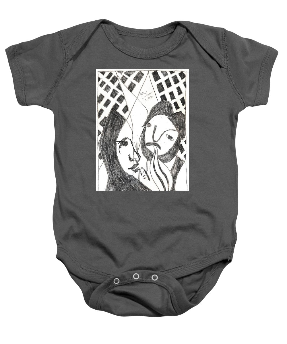 Michel Larionov Baby Onesie featuring the drawing After Mikhail Larionov Pencil Drawing 14 by Edgeworth DotBlog