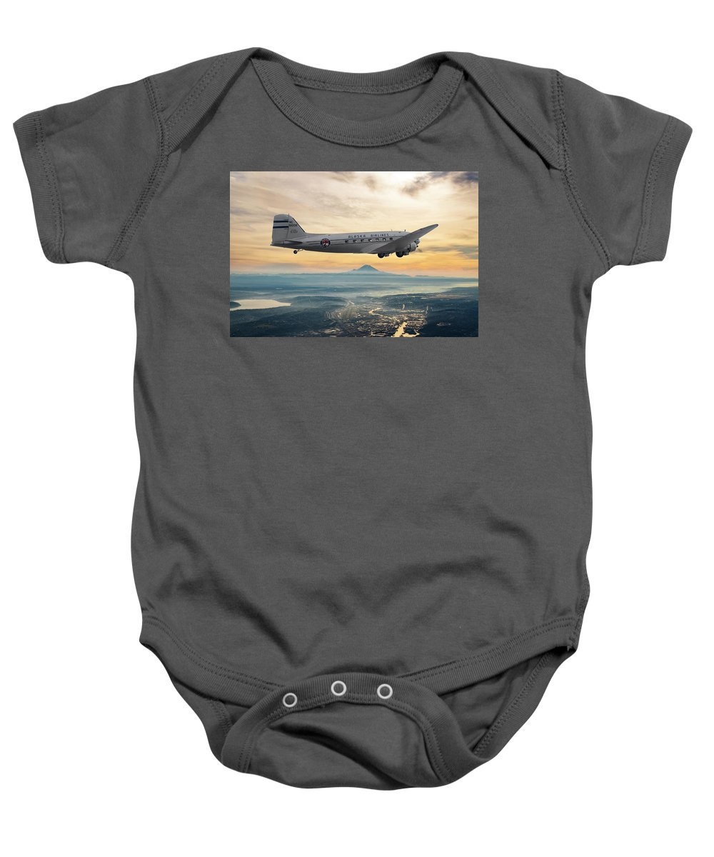 Alaska Airlines Baby Onesie featuring the mixed media Alaska Airlines Dc-3 Over Seattle by Erik Simonsen