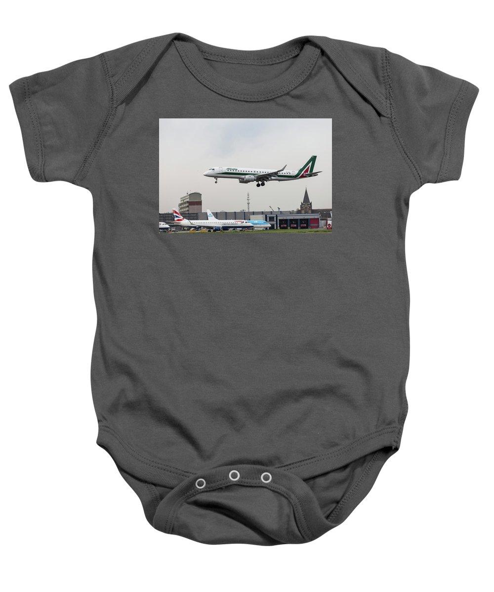Bird Near Miss Baby Onesie featuring the photograph Alitalia Embraer 190 Bird Near Miss by David Pyatt