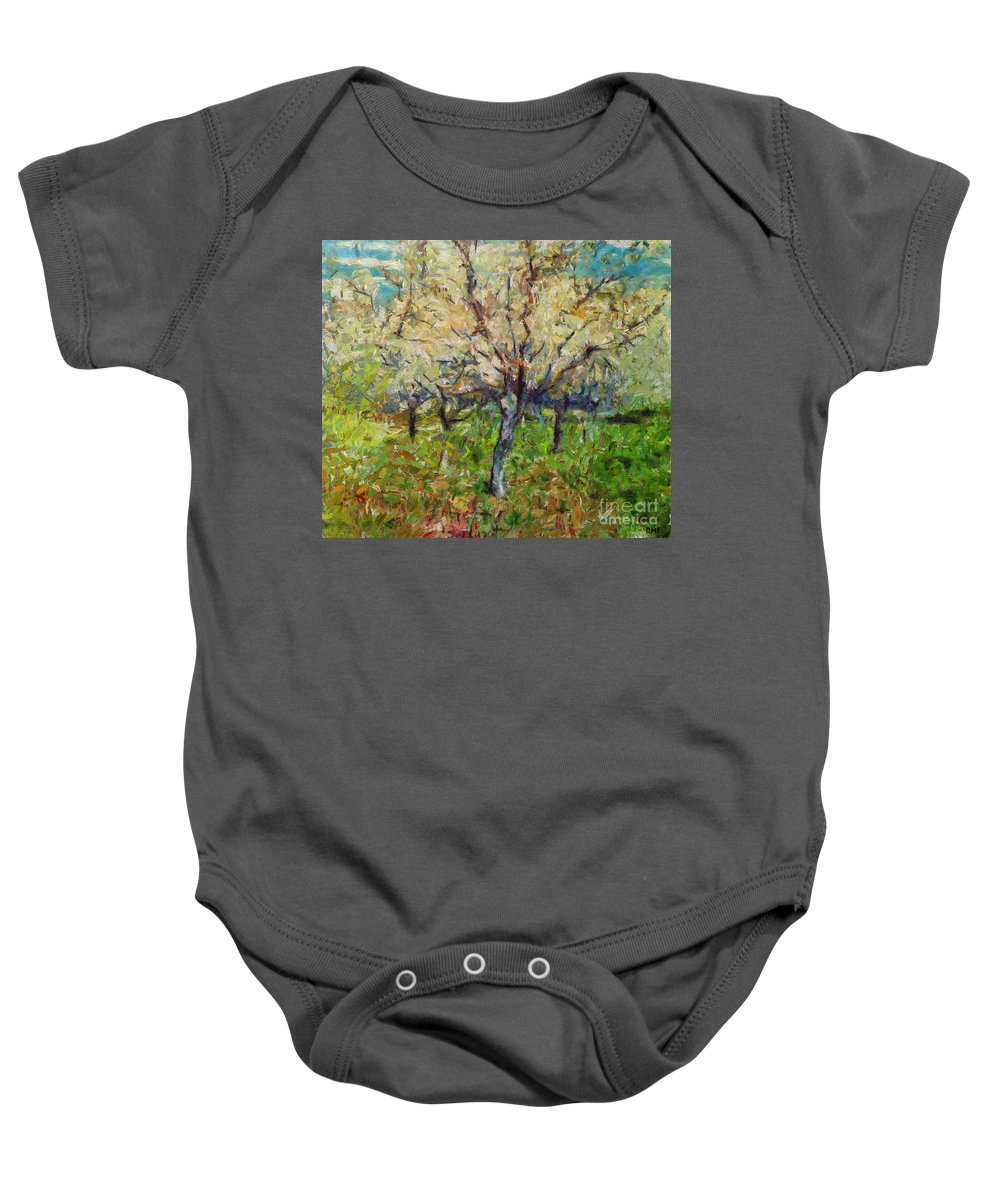 Spring Baby Onesie featuring the painting Almond Orchard by Dragica Micki Fortuna