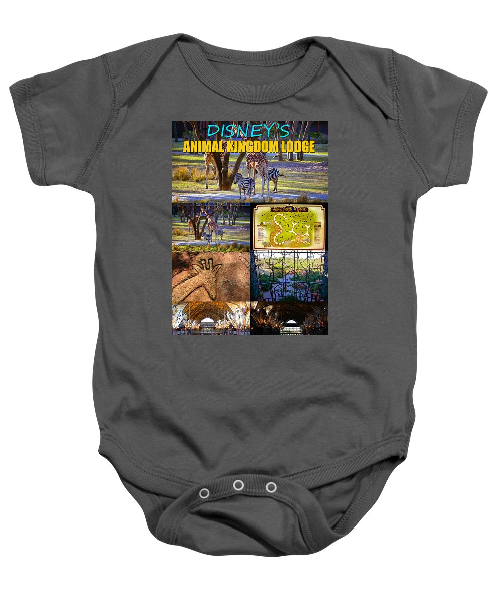 Disney's Animal Kingdom Lodge Baby Onesie featuring the photograph Animal Kingdom Lodge Poster A by David Lee Thompson