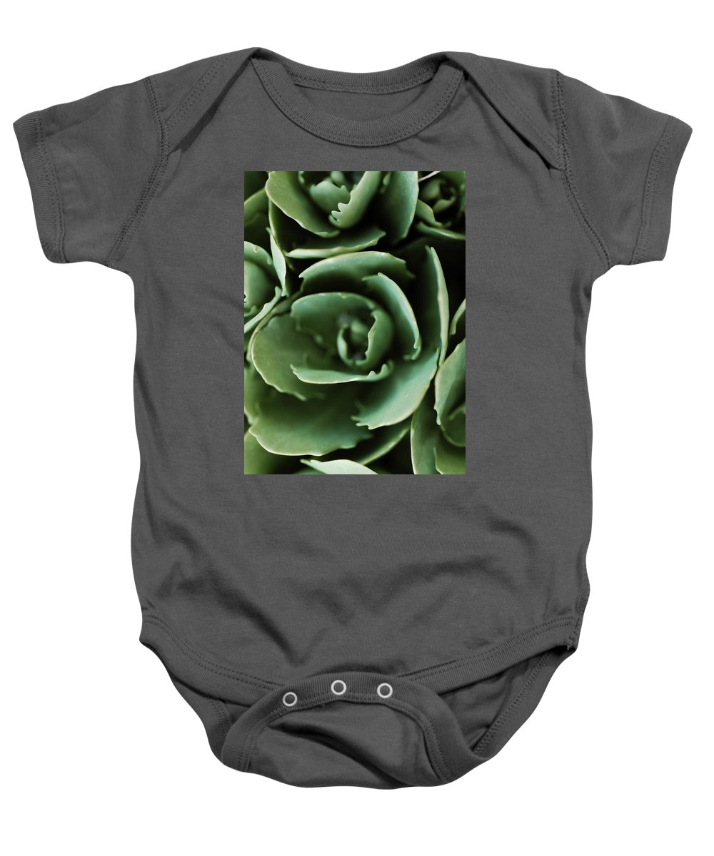 Macro Baby Onesie featuring the photograph Aqua Green Plant Pattern by Tory Hallenburg