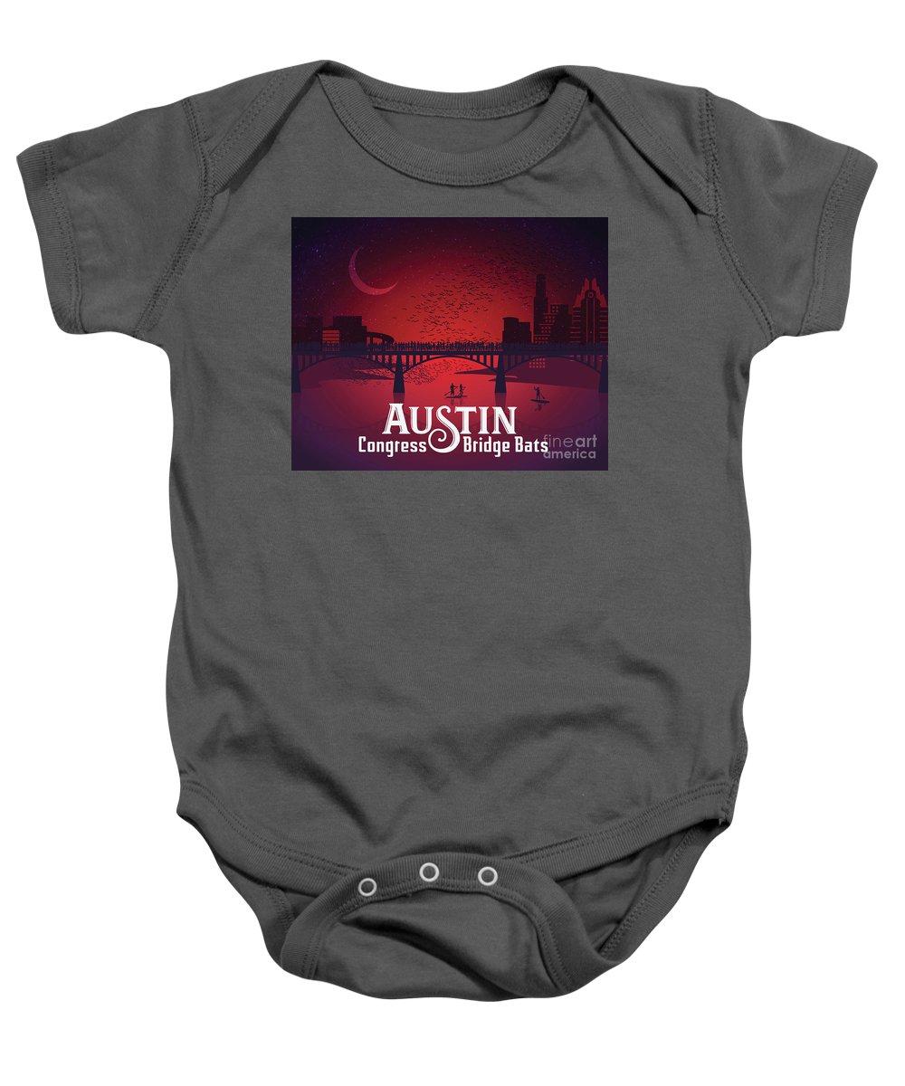 Austin Congress Bridge Bats Baby Onesie featuring the photograph Austin Congress Bridge Bats by Weird Austin Photos