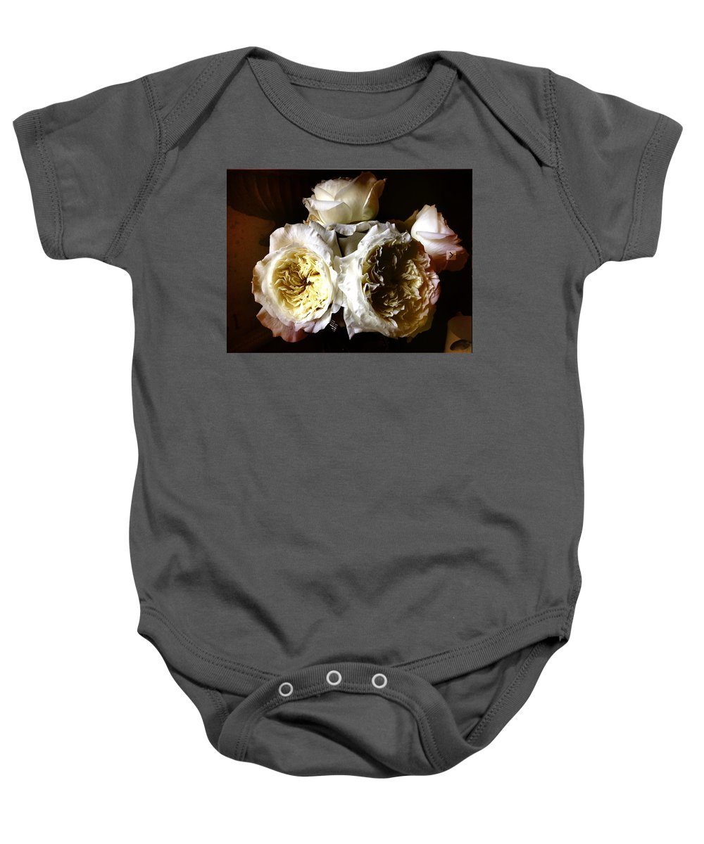 Roses Baby Onesie featuring the photograph Austin Roses Notan by Elizabeth Quinn