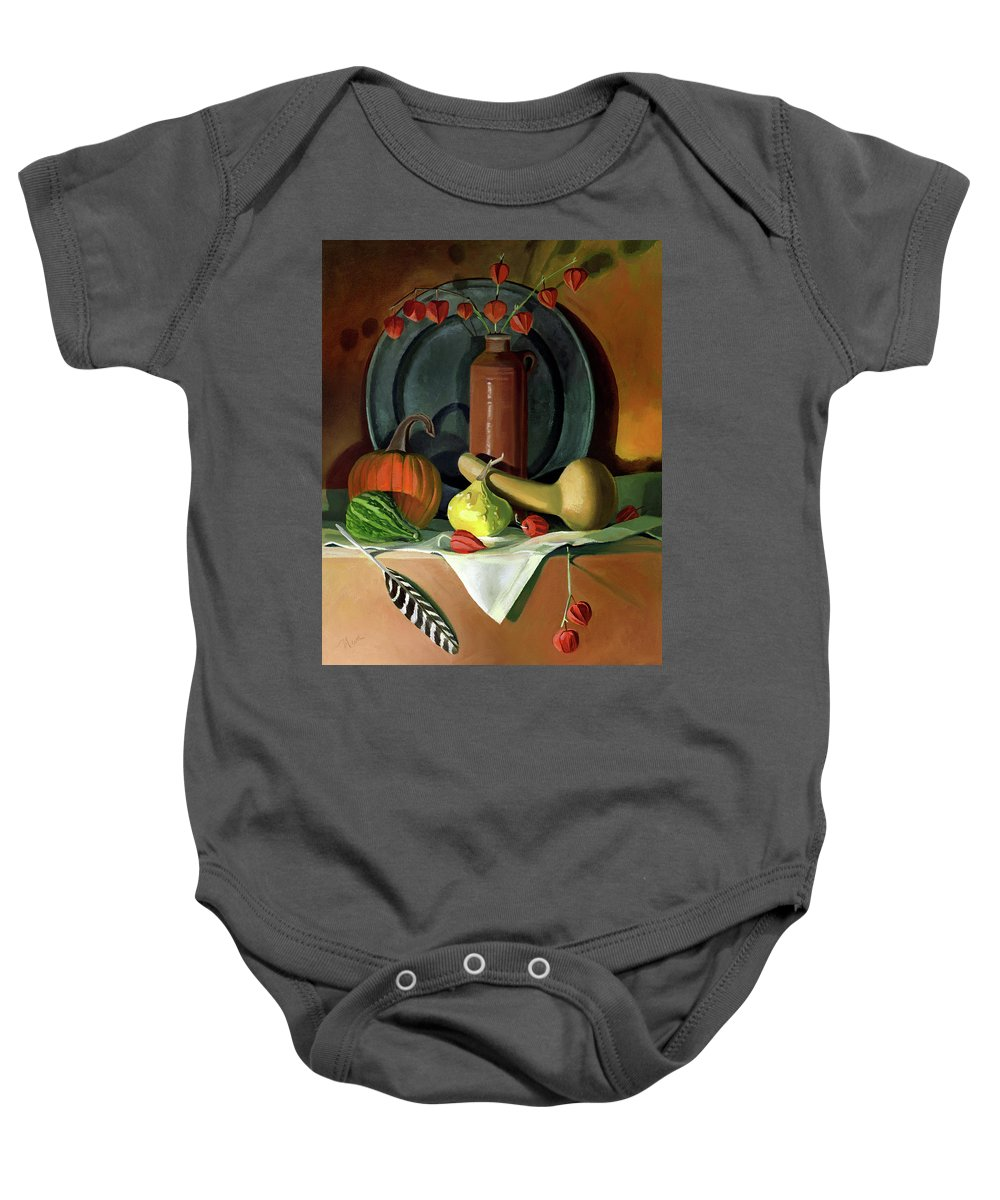 Still Life Baby Onesie featuring the painting Autumn Still Life by Nancy Griswold