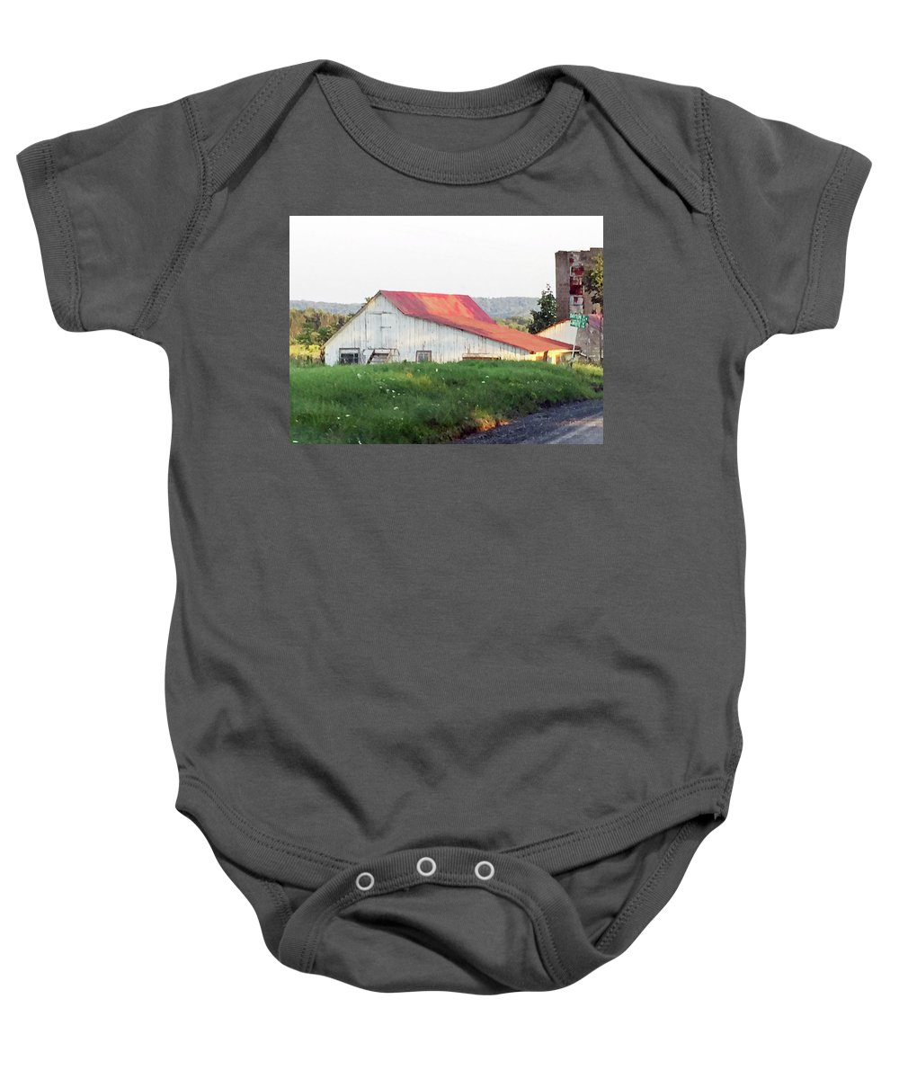 Barn Baby Onesie featuring the photograph Barn With Red Roof by Christine Lathrop