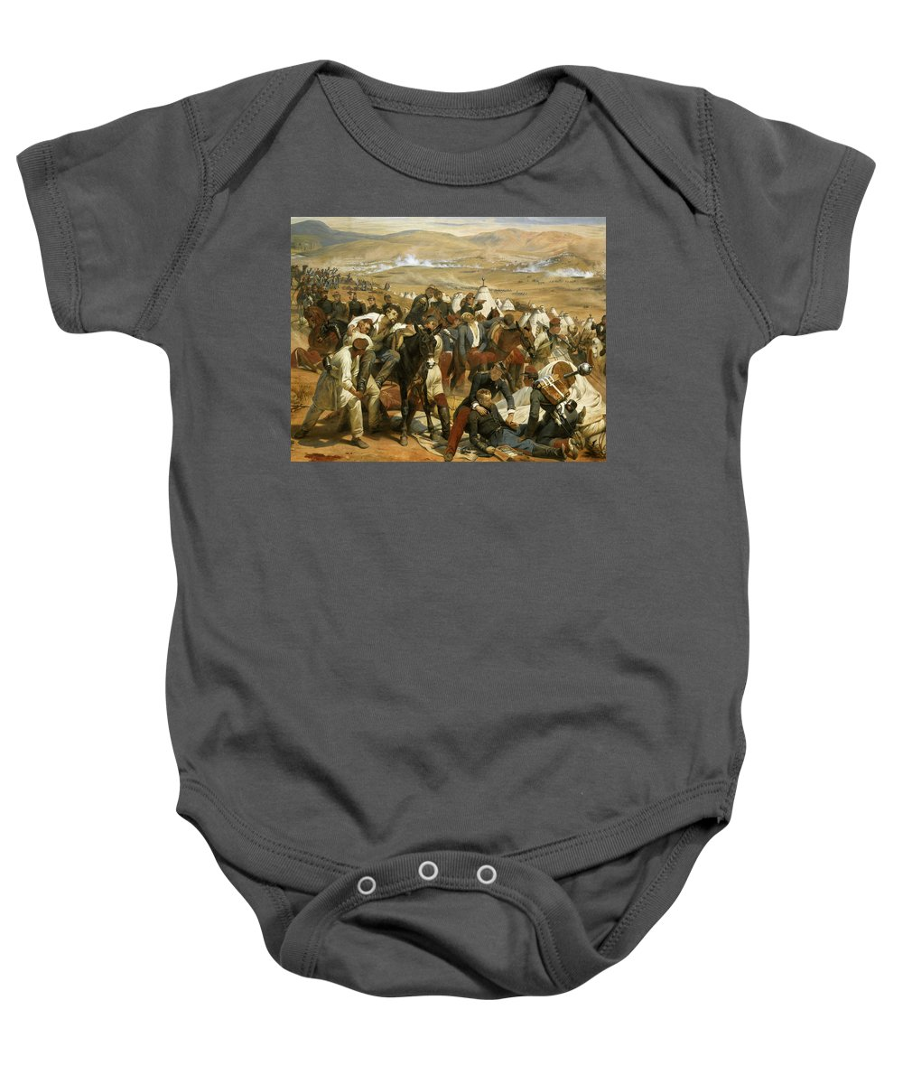 Horace Vernet Baby Onesie featuring the painting Battle Of Isly, August 14, 1844 by Horace Vernet