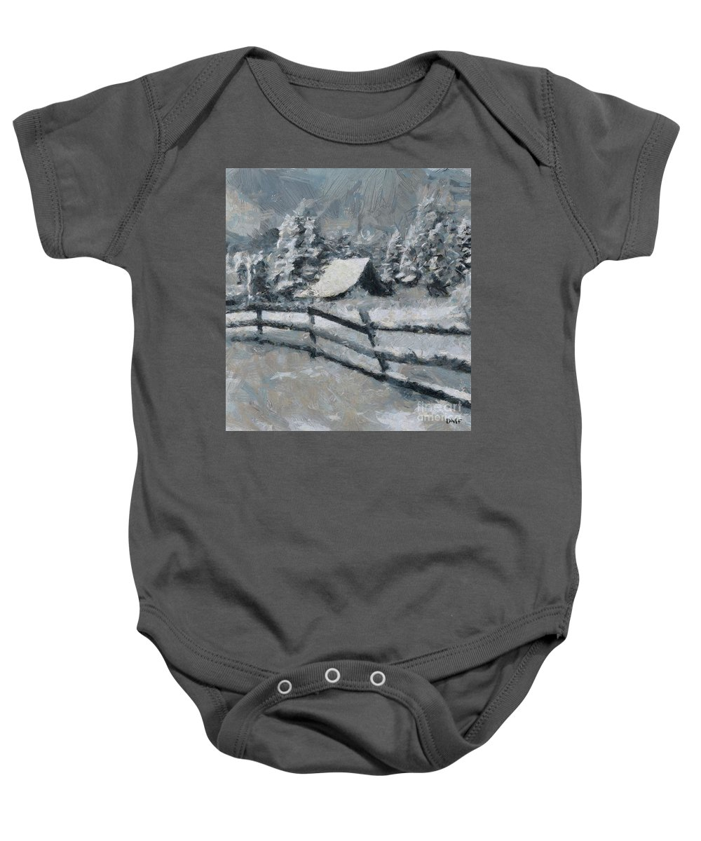 Blizzard Baby Onesie featuring the painting Before The Blizzard by Dragica Micki Fortuna