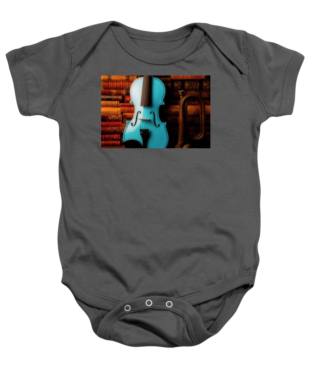 Book Baby Onesie featuring the photograph Blue Violin And Old Books by Garry Gay
