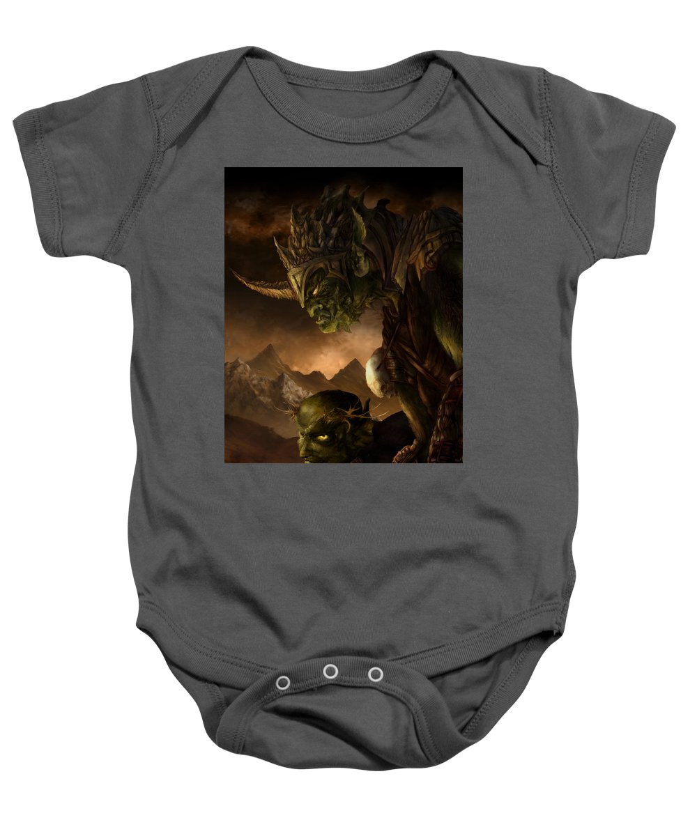 Goblin Baby Onesie featuring the mixed media Bolg The Goblin King by Curtiss Shaffer