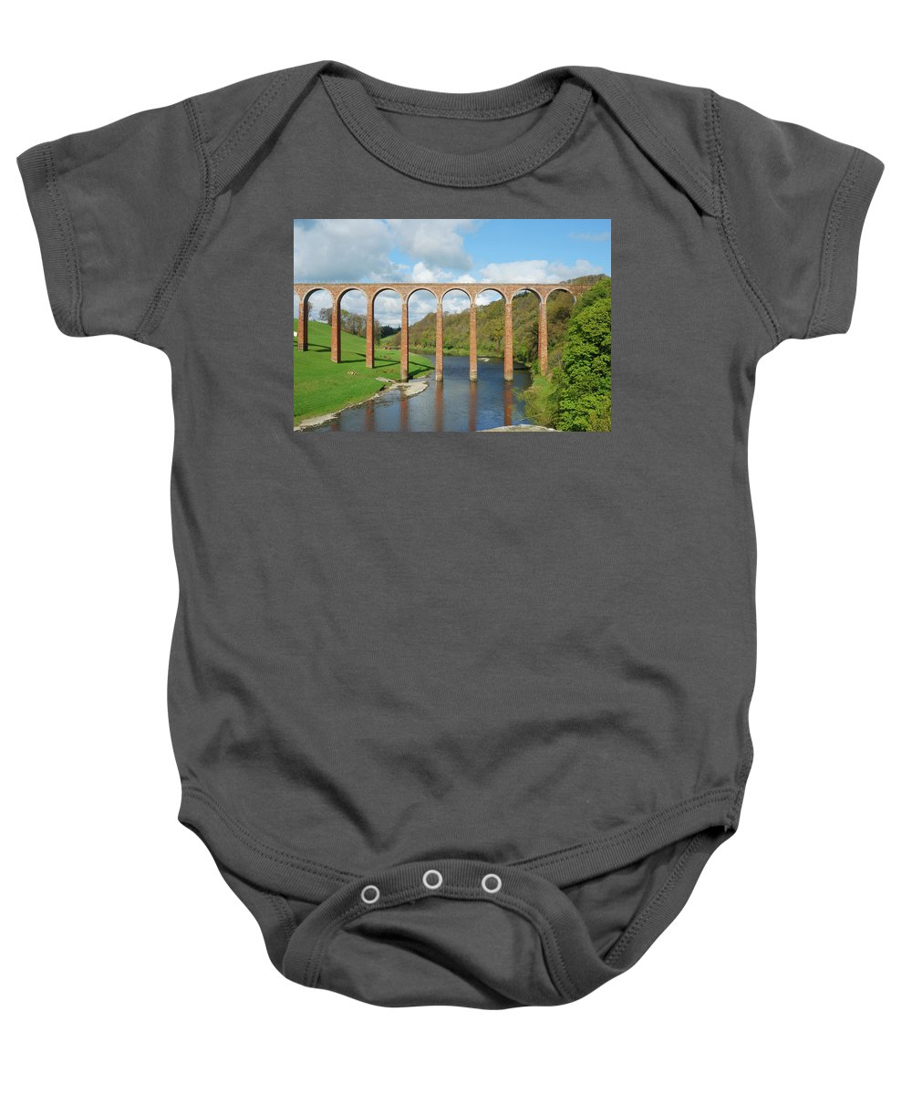 Bridge Baby Onesie featuring the photograph bridge over river Tweed near Melrose towards Gattonside by Victor Lord Denovan