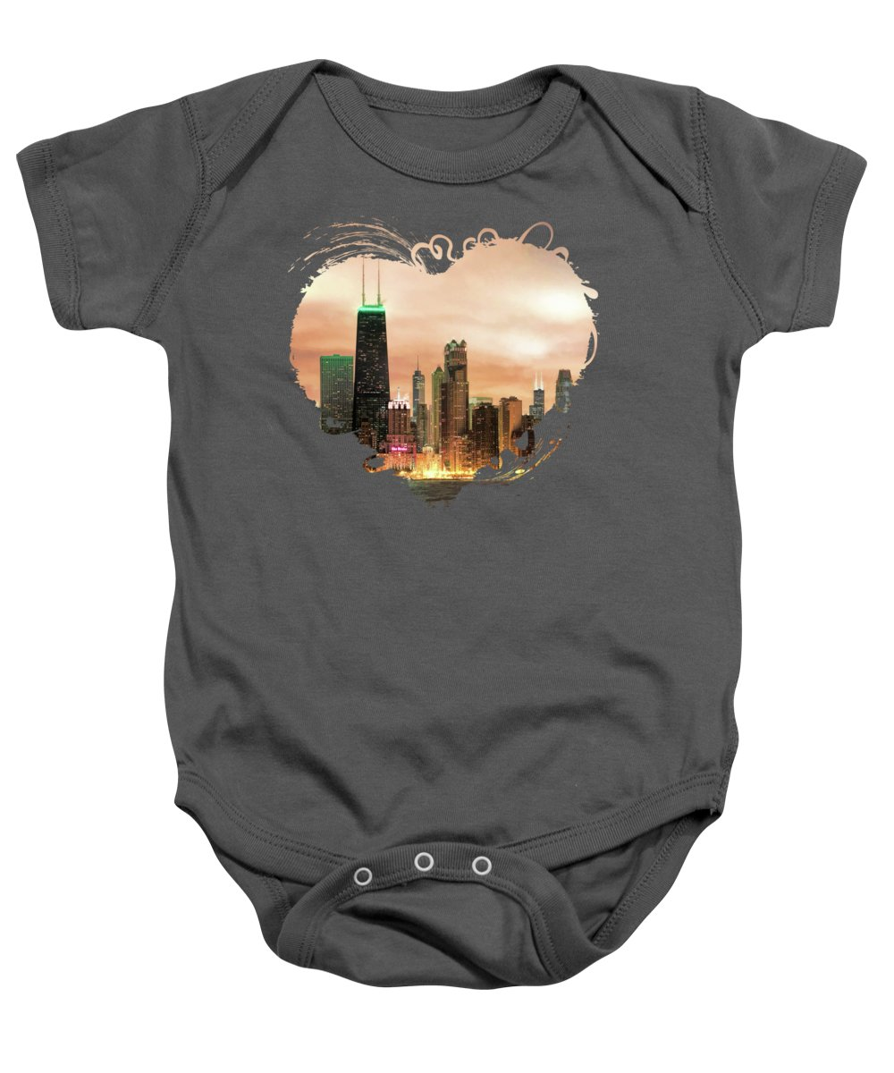 Chicago Baby Onesie featuring the photograph Chicago Gotham City Skyline Panorama by Christopher Arndt