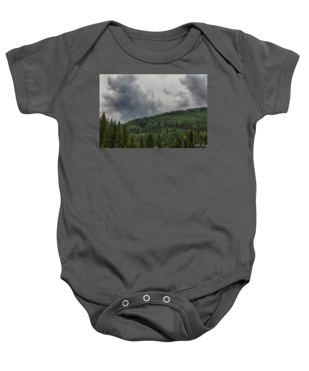 Utah Baby Onesie featuring the photograph Cloud Topped Aspens by Mitch Johanson