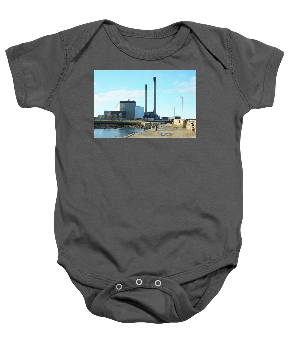 Cockenzie Baby Onesie featuring the photograph Cockenzie Power Station by Victor Lord Denovan