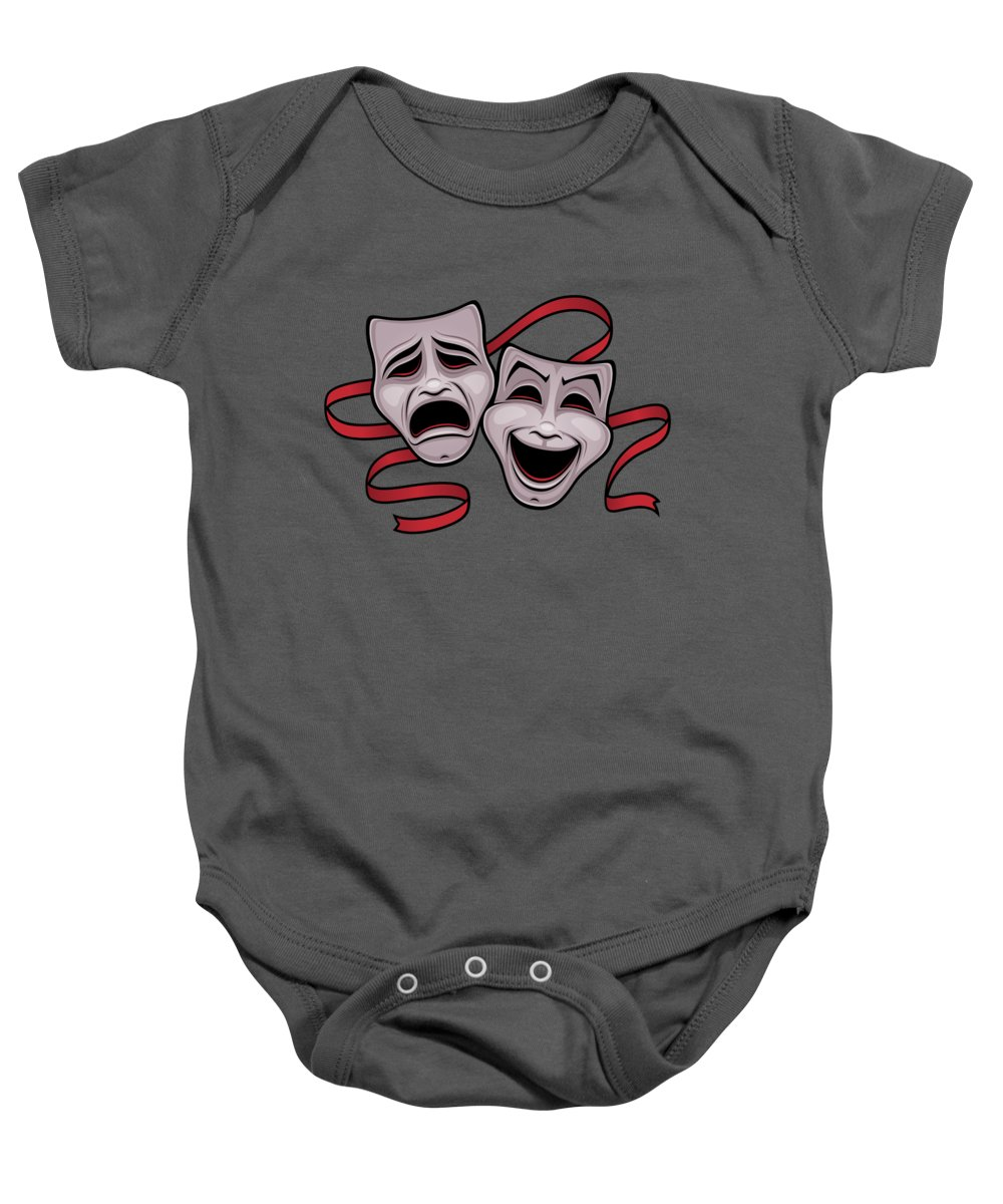 Acting Baby Onesie featuring the digital art Comedy And Tragedy Theater Masks by John Schwegel