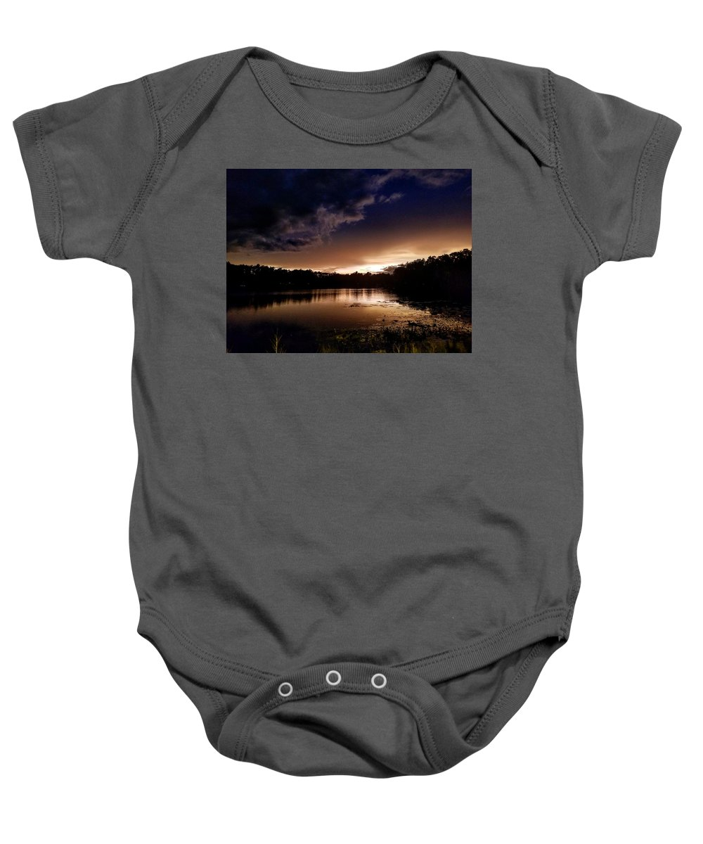 Sunset Baby Onesie featuring the photograph Dark Reflections by Shena Sanders